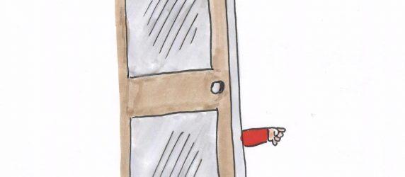 Dziecięca rączka wysuwa się zza drzwi, rysunek odręczny