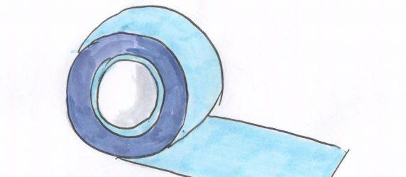 taśma klejąca niebieska, rysunek odręczny